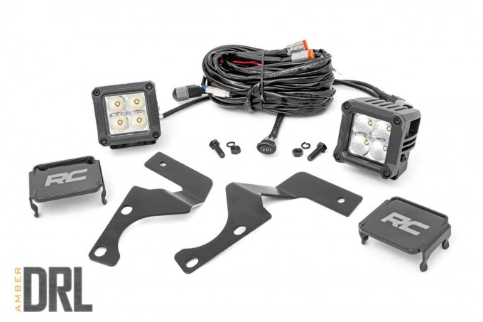 Toyota 2-inch LED Lower Windshield Ditch Kit (14-19 4-Runner | Chrome-Series w/ Amber DRL)